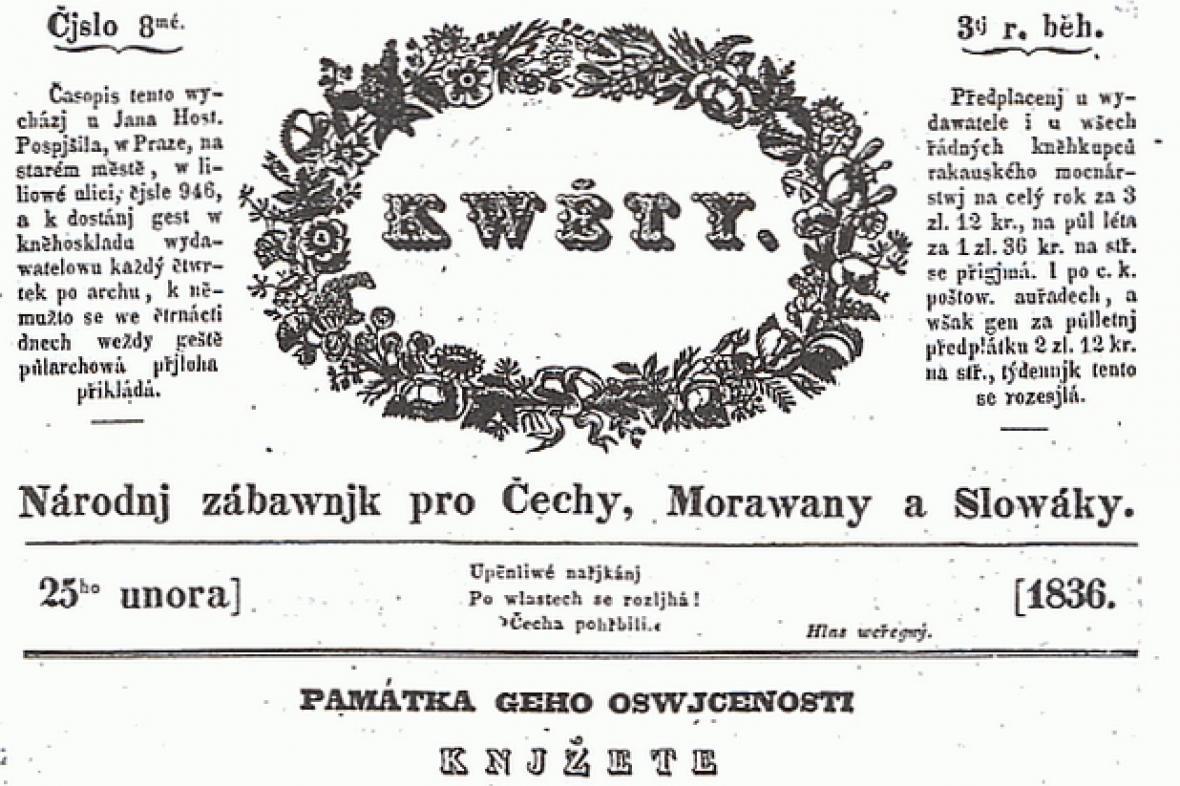 Časopis Květy z roku 1836