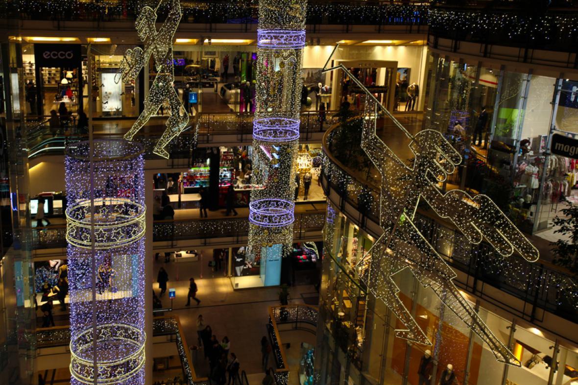 Vánoční výzdoba obchodního centra Palladium