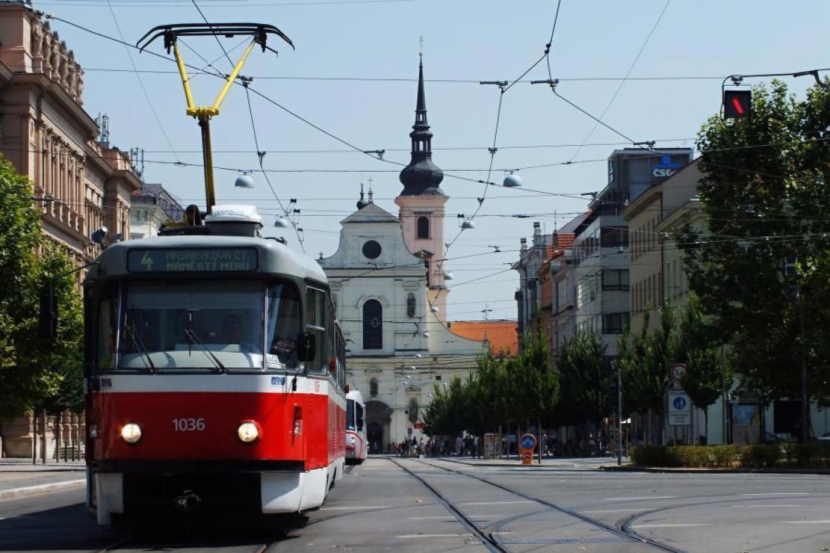 Tramvajový provoz v centru Brna