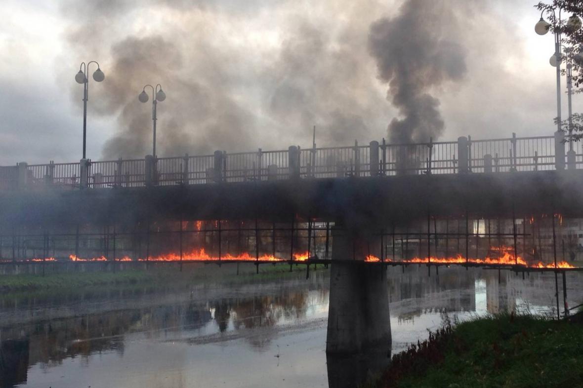 Požár přerovské lávky