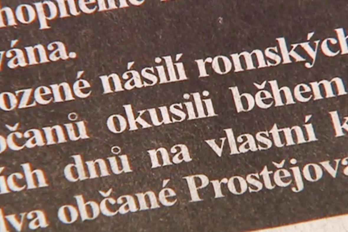 Článek Prostějovského deníku o násilí Romů