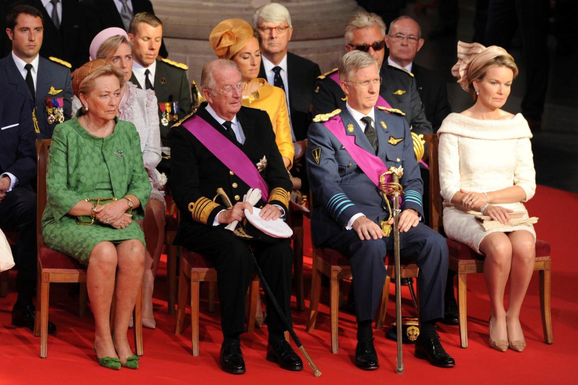 Belgická královská rodina na mši