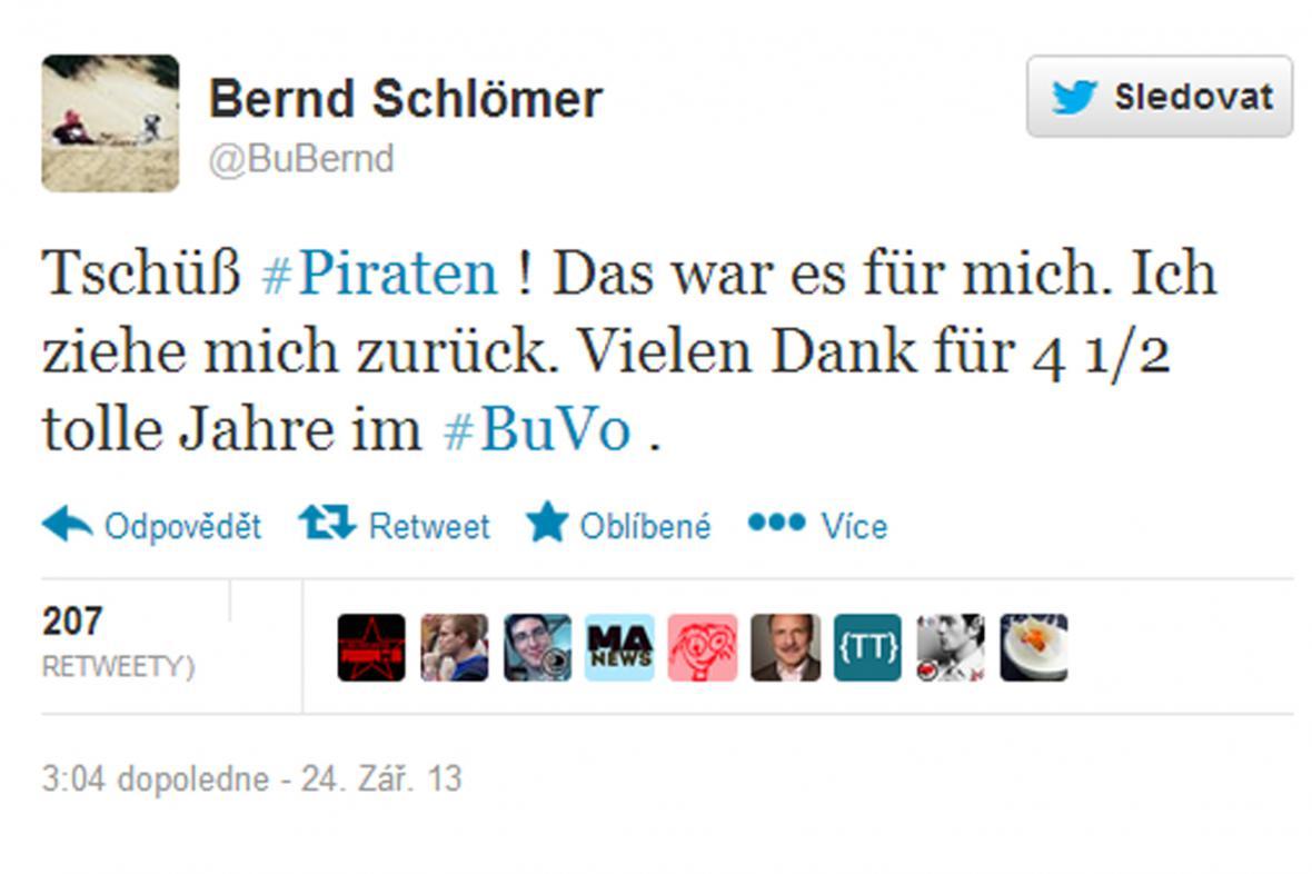 Oznámení Schlömerovy rezignace na Twitteru