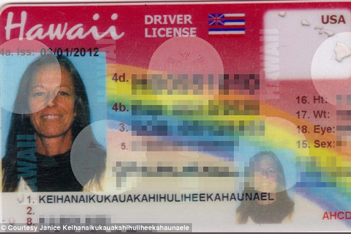 Řidičský průkaz Havajky Janice