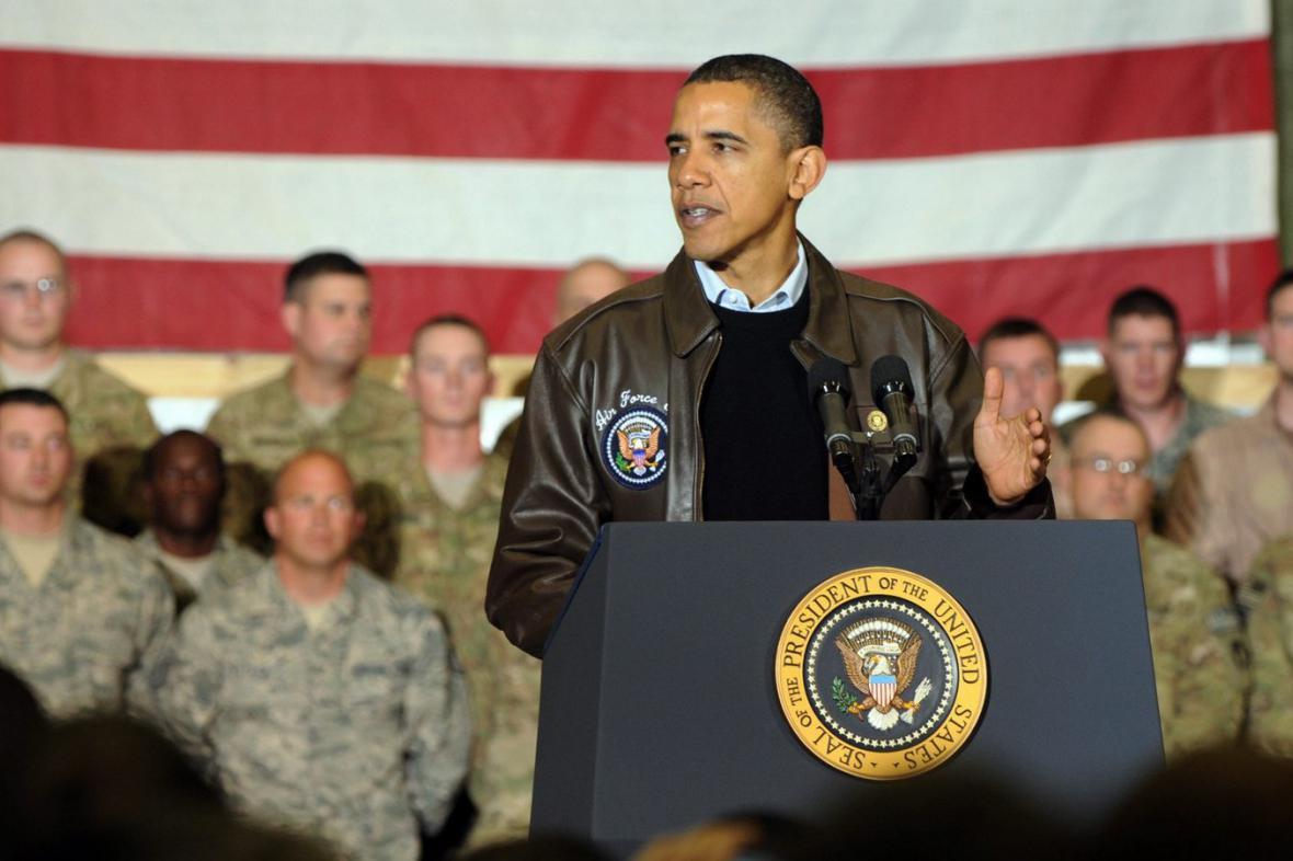 Barack Obama u amerických vojáků
