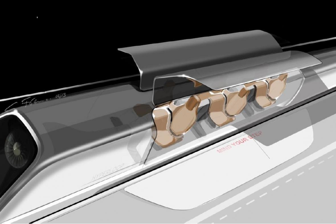 Cestující v kapsli Hyperloop