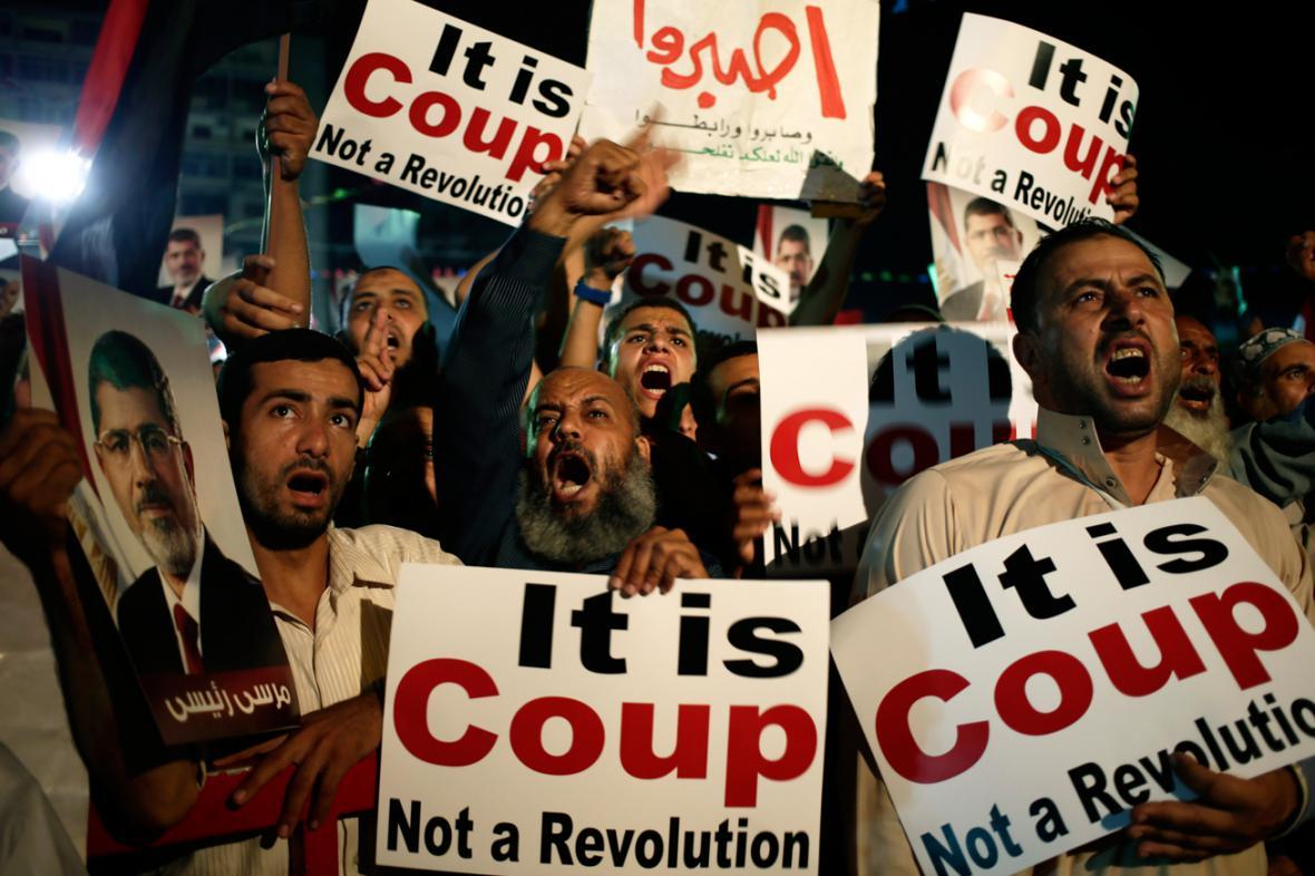 Demonstrace stoupenců Muhammada Mursího