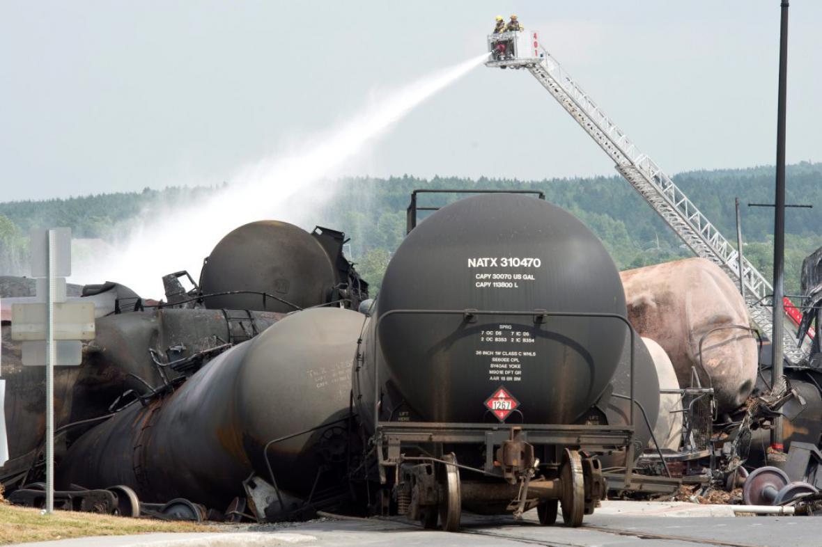 Zásah hasičů v Lac-Megantic