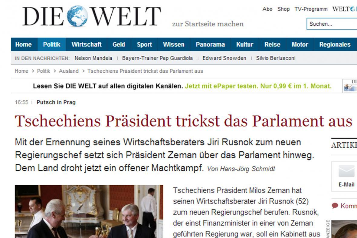 Die Welt o jmenování Rusnoka premiérem