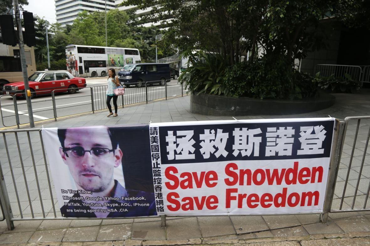 Podpora Snowdena v Hongkongu