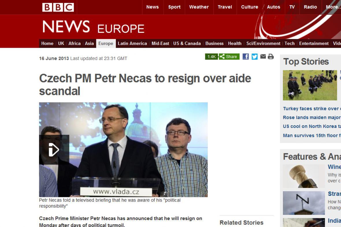 Rezignace Nečase na BBC