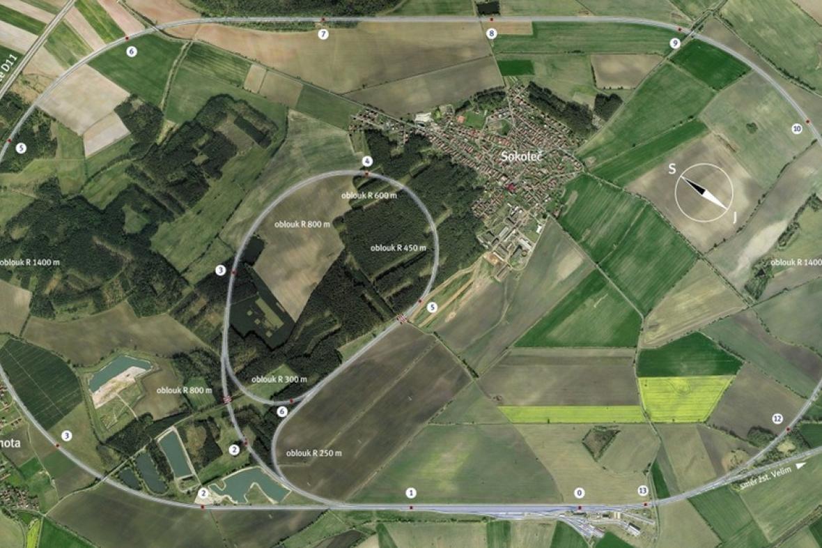 Schématický plánek železničních zkušebních okruhů