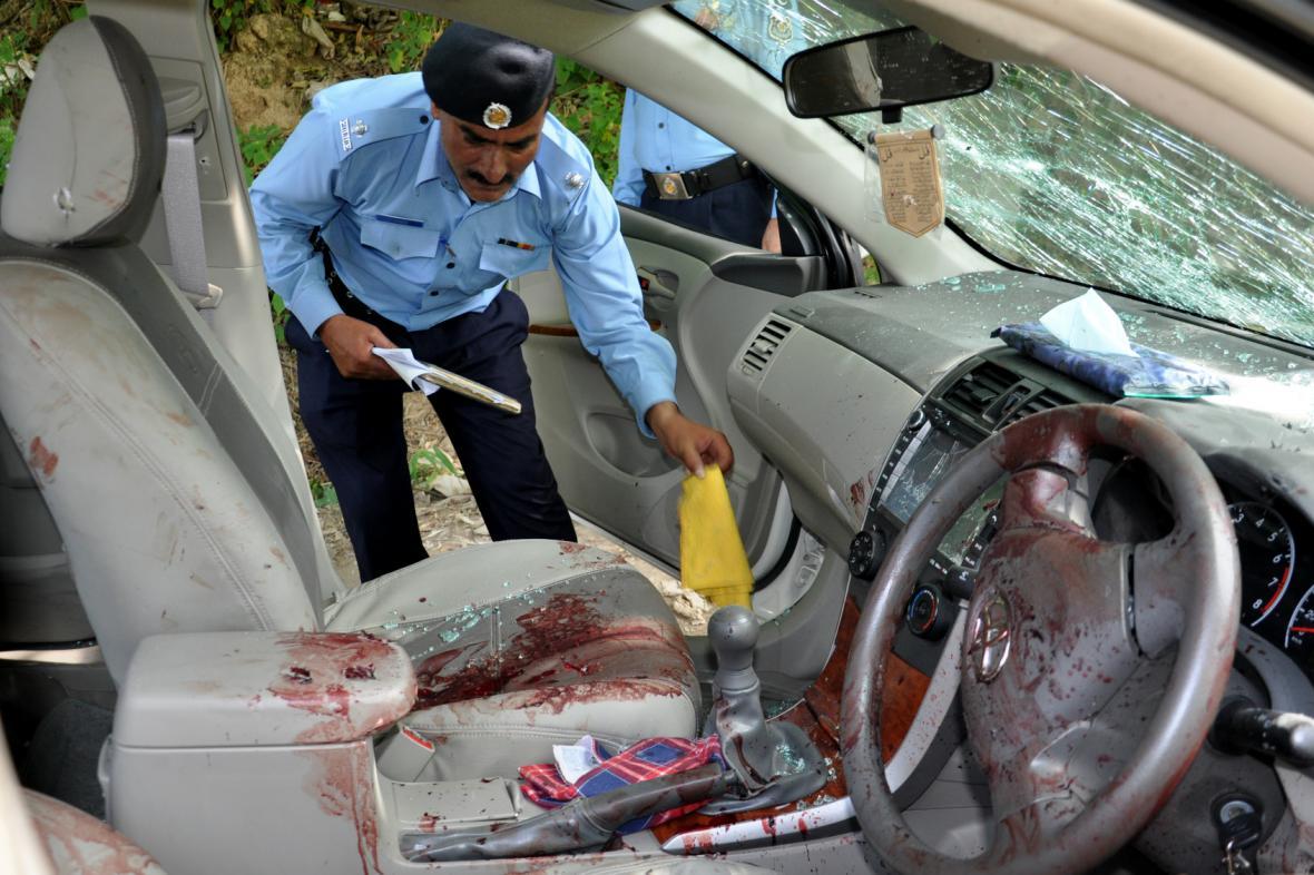Vůz, ve kterém byl zastřelen pákistánský žalobce Zulfikar
