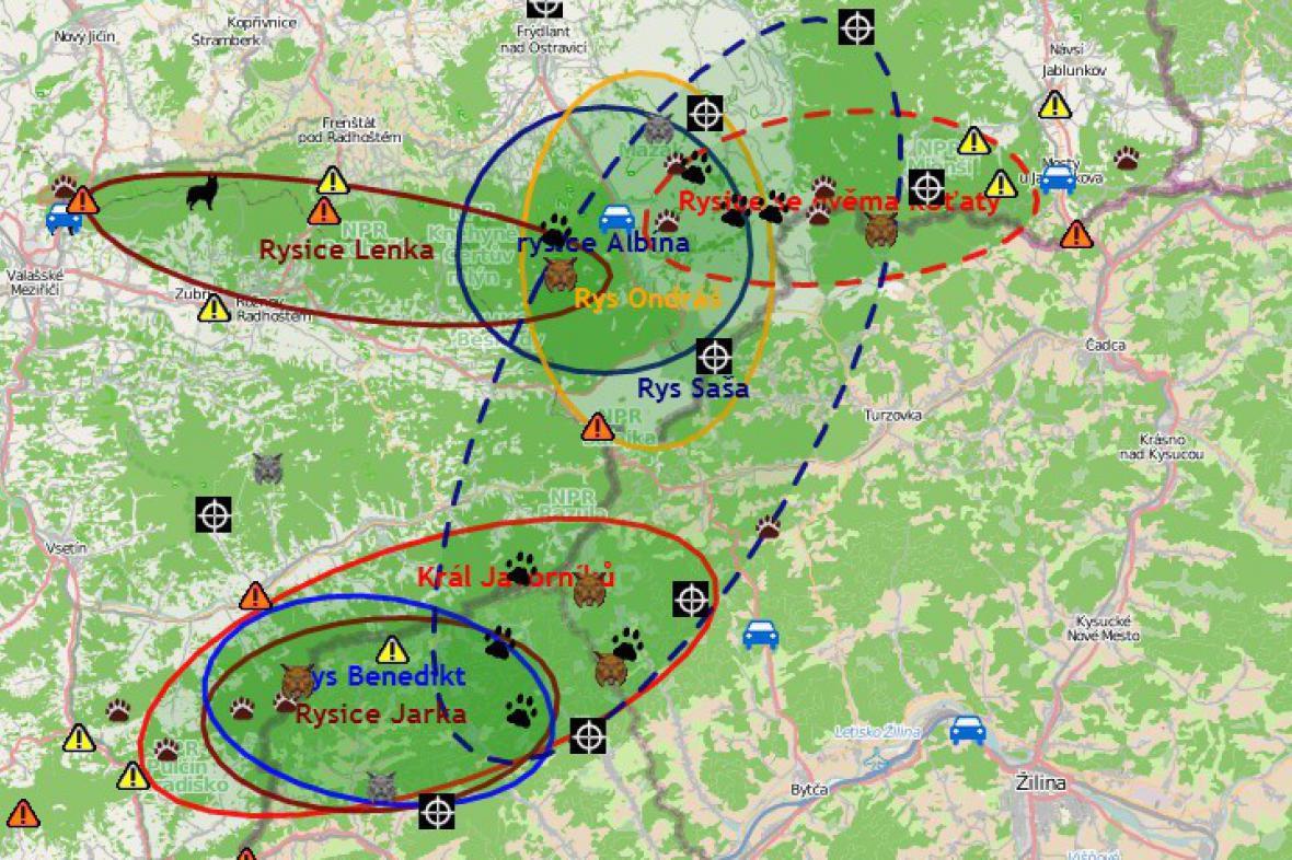 Mapa výskytu šelem v Beskydech
