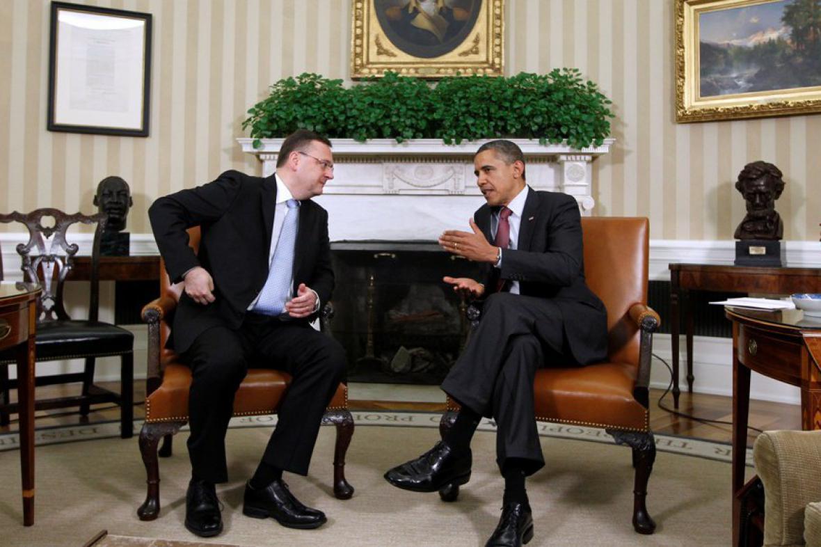 Petr Nečas a Barack Obama