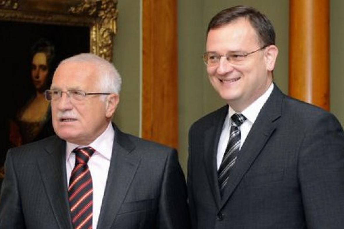 Premiér Petr Nečas s prezidentem Václavem Klausem