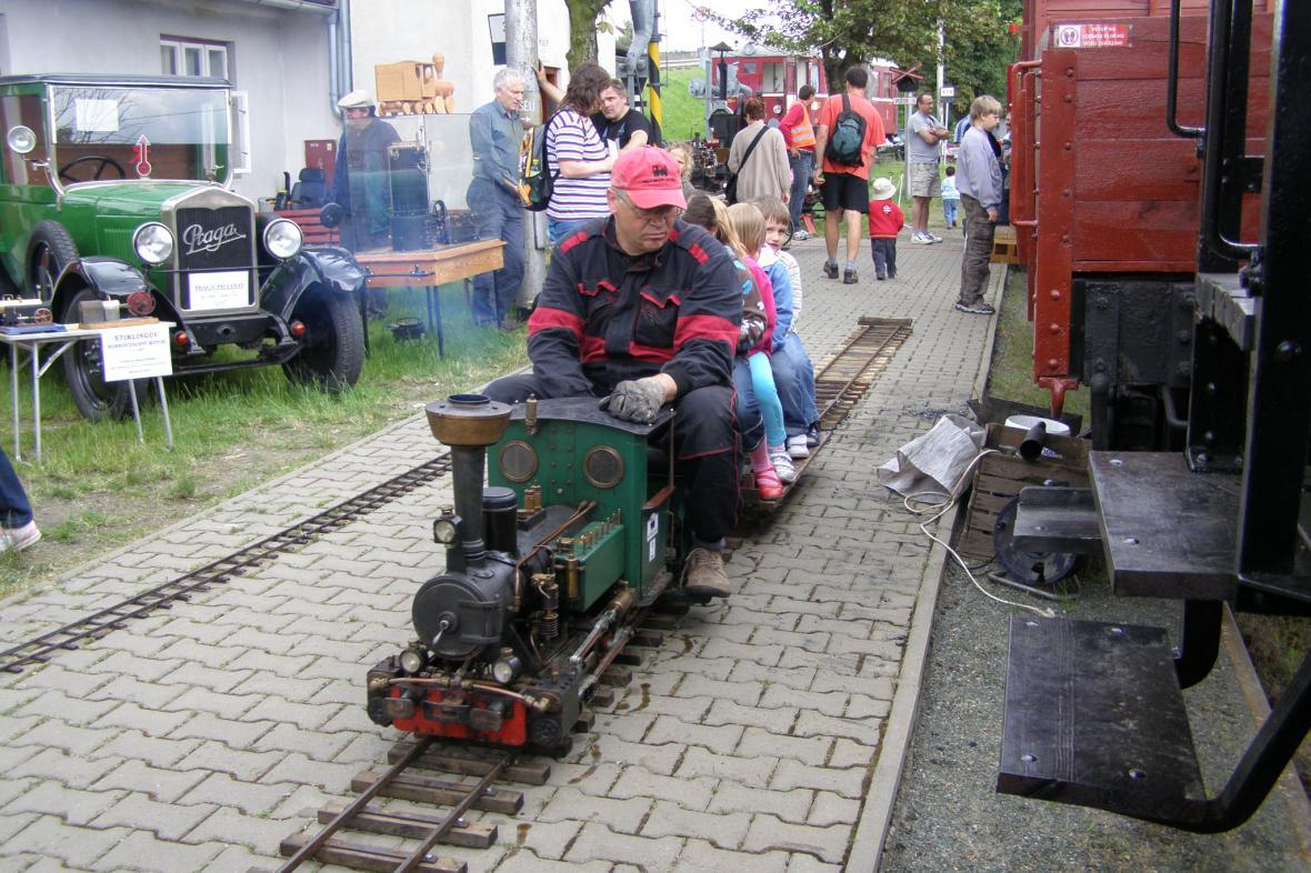Model parního vlaku v Rosicích n. L.