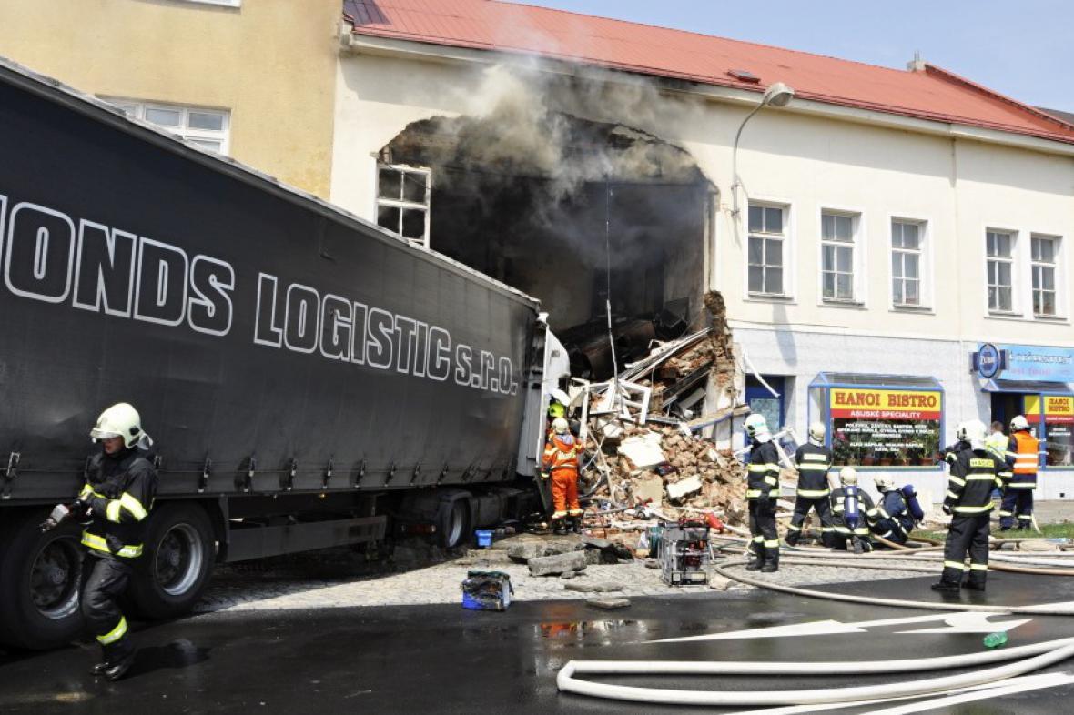 Nehoda kamionu v Přerově