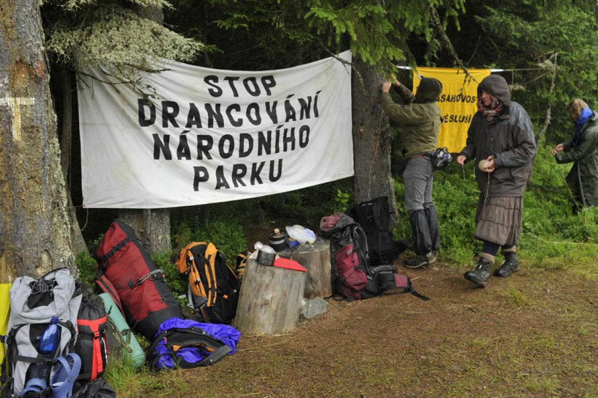 Blokáda ekologických aktivistů na Šumavě
