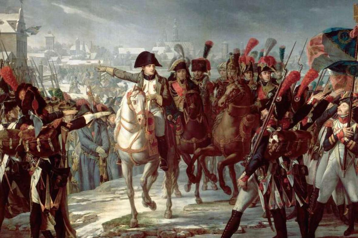 Napoleon velí vojskům při invazi do Ruska