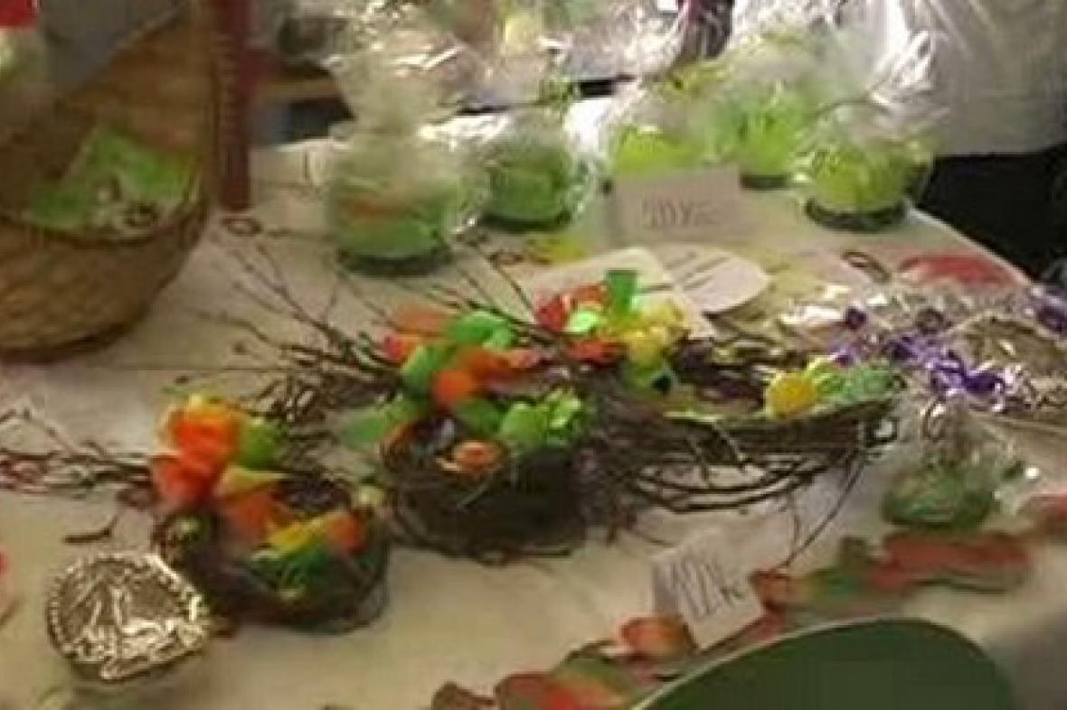 Výrobky děti na velikonočním jarmarku