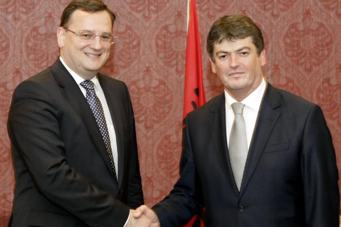 Petr Nečas s albánským prezidentem Bamirem Topim