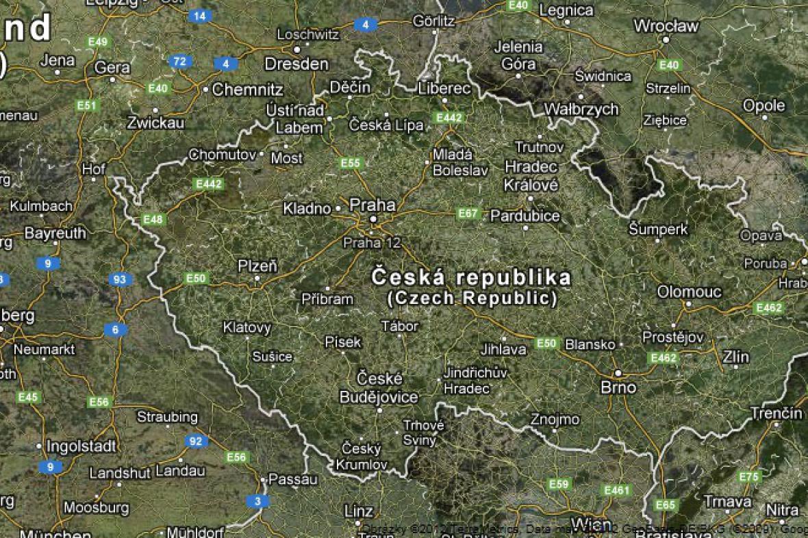 Satelitní snímek ČR