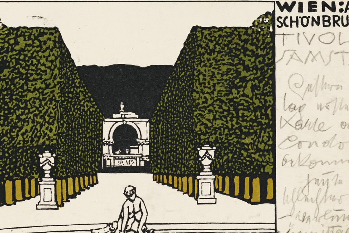 Pohled od G. Klimta pro Emilii Flögeovou (27. 2. 1909)