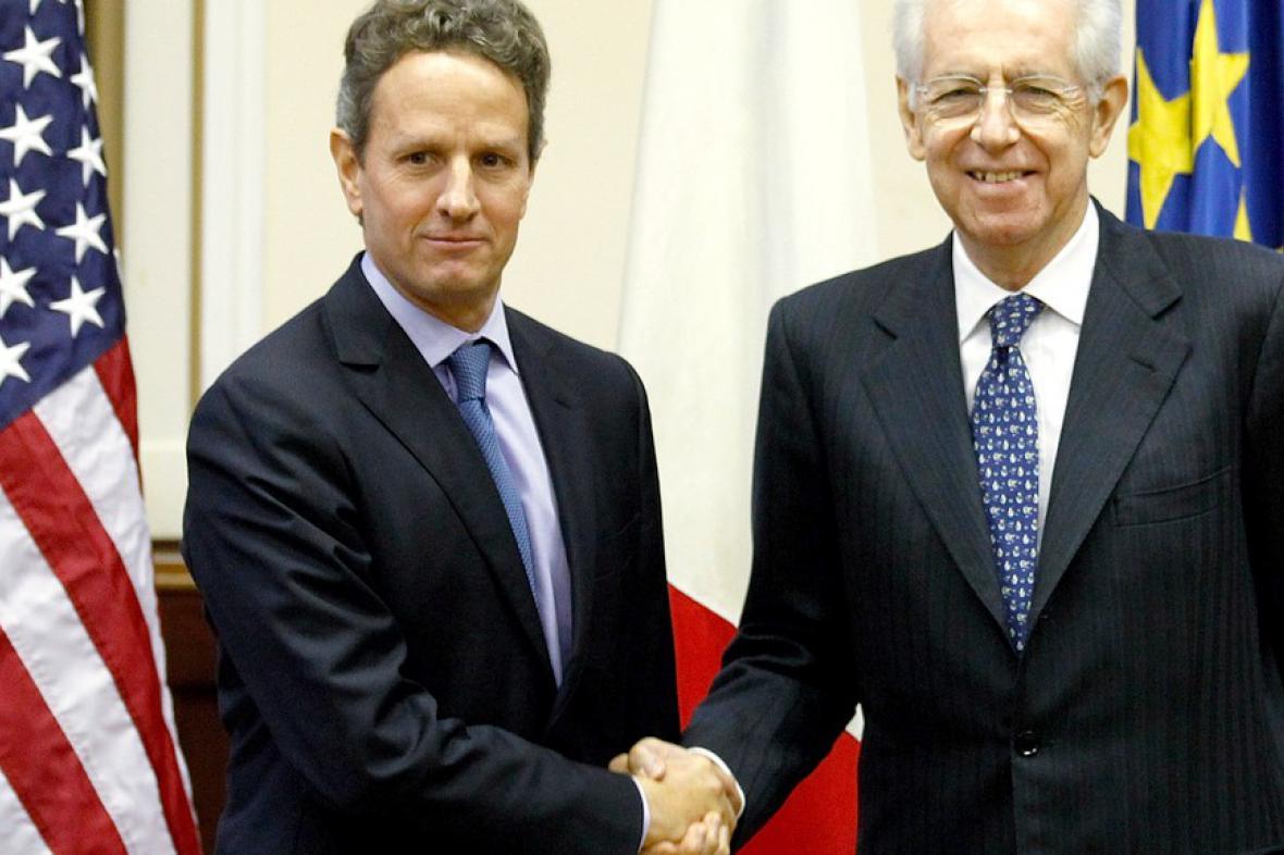 Timothy Geithner a Mario Monti