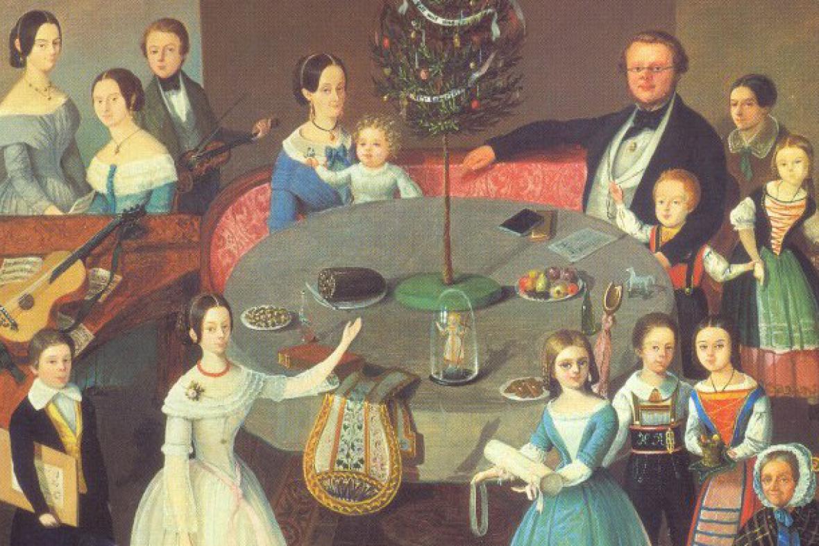 F. I. Pollinger / První vánoční stromek v Riedu(1848)