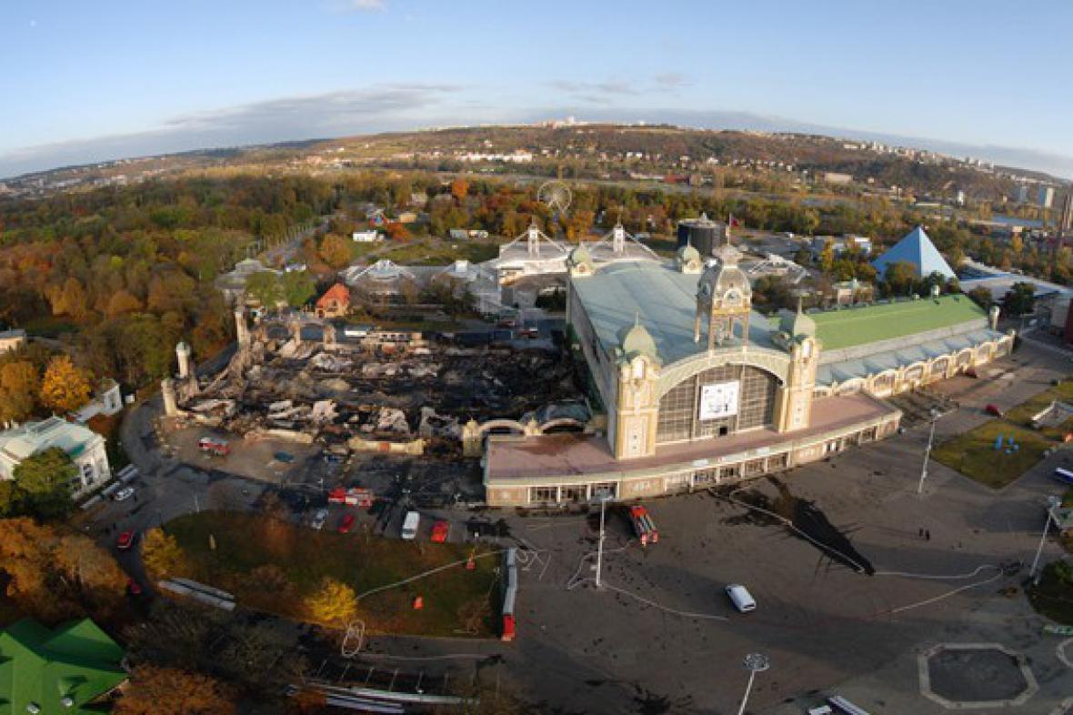 Průmyslový palác po požáru