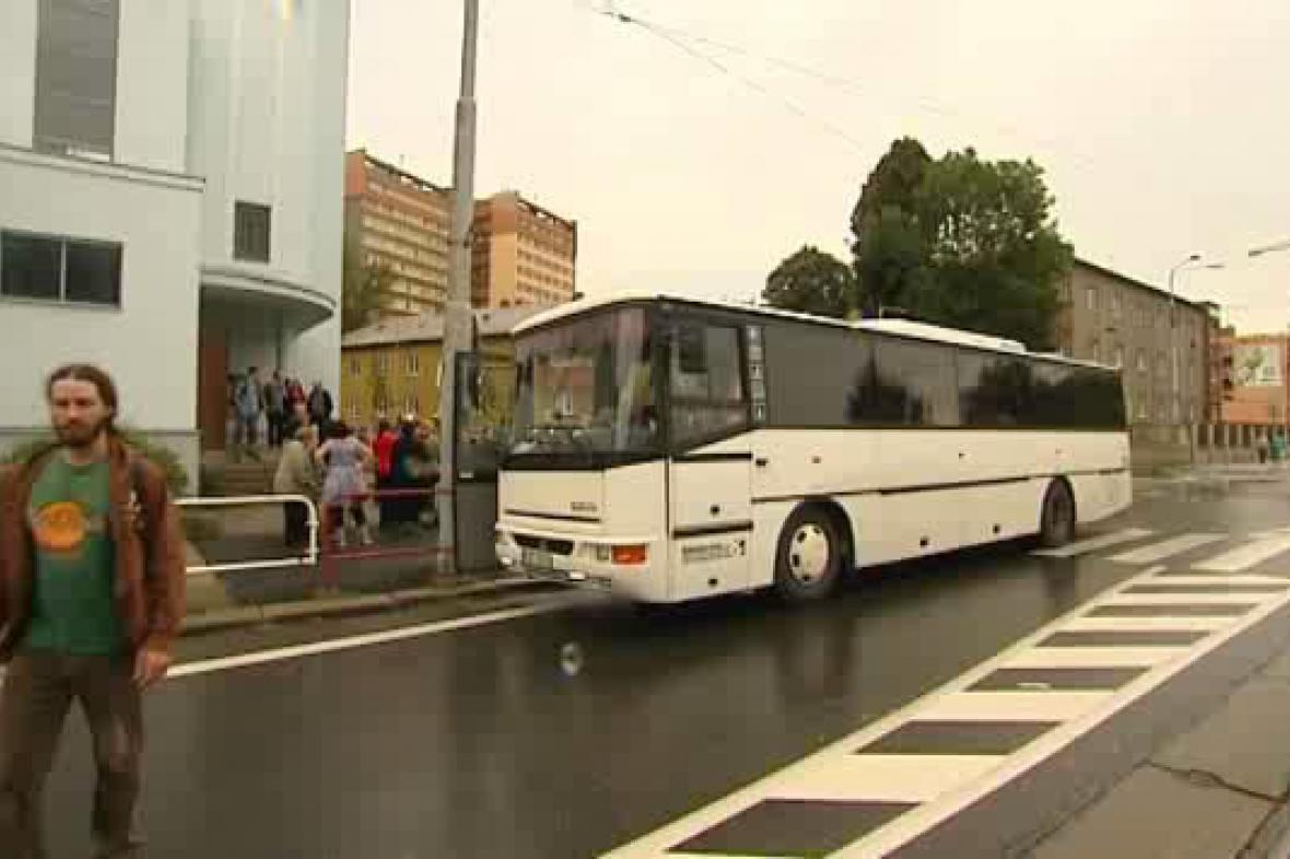 Autobus před cestou do Madridu