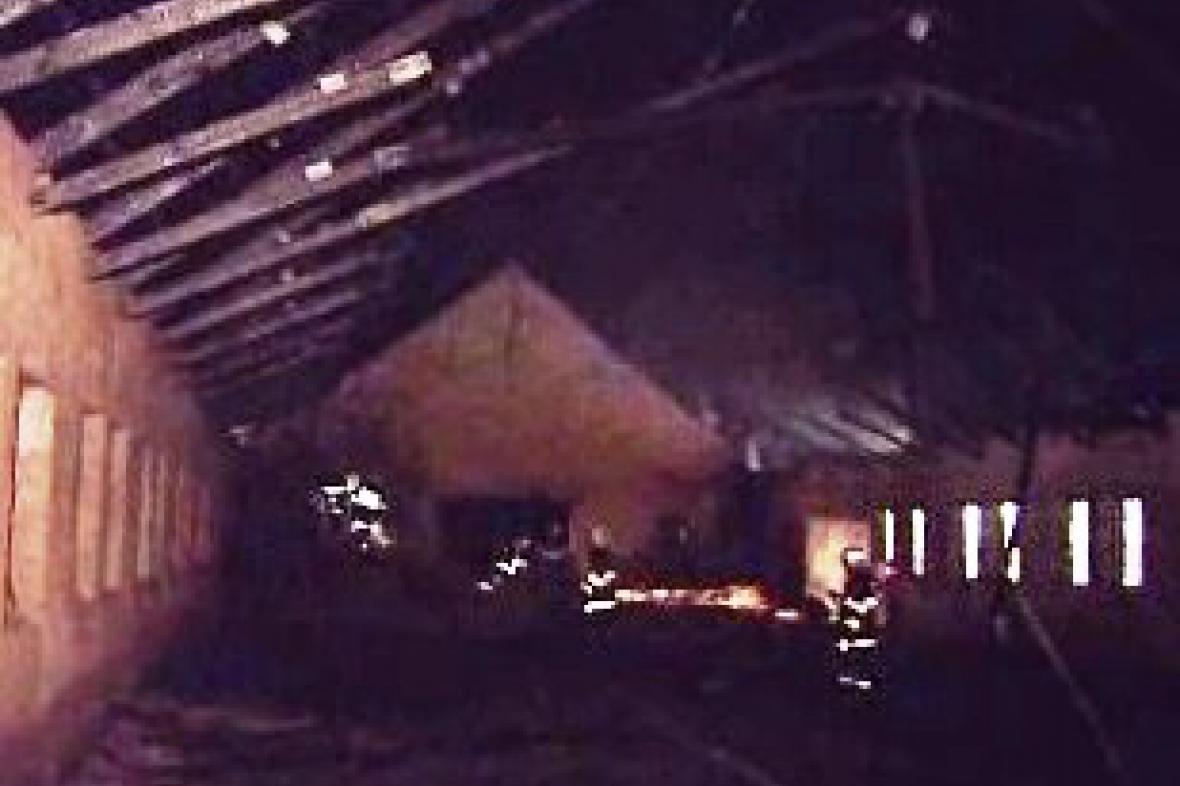 Požár konírny v Podklášteří u Tišnova