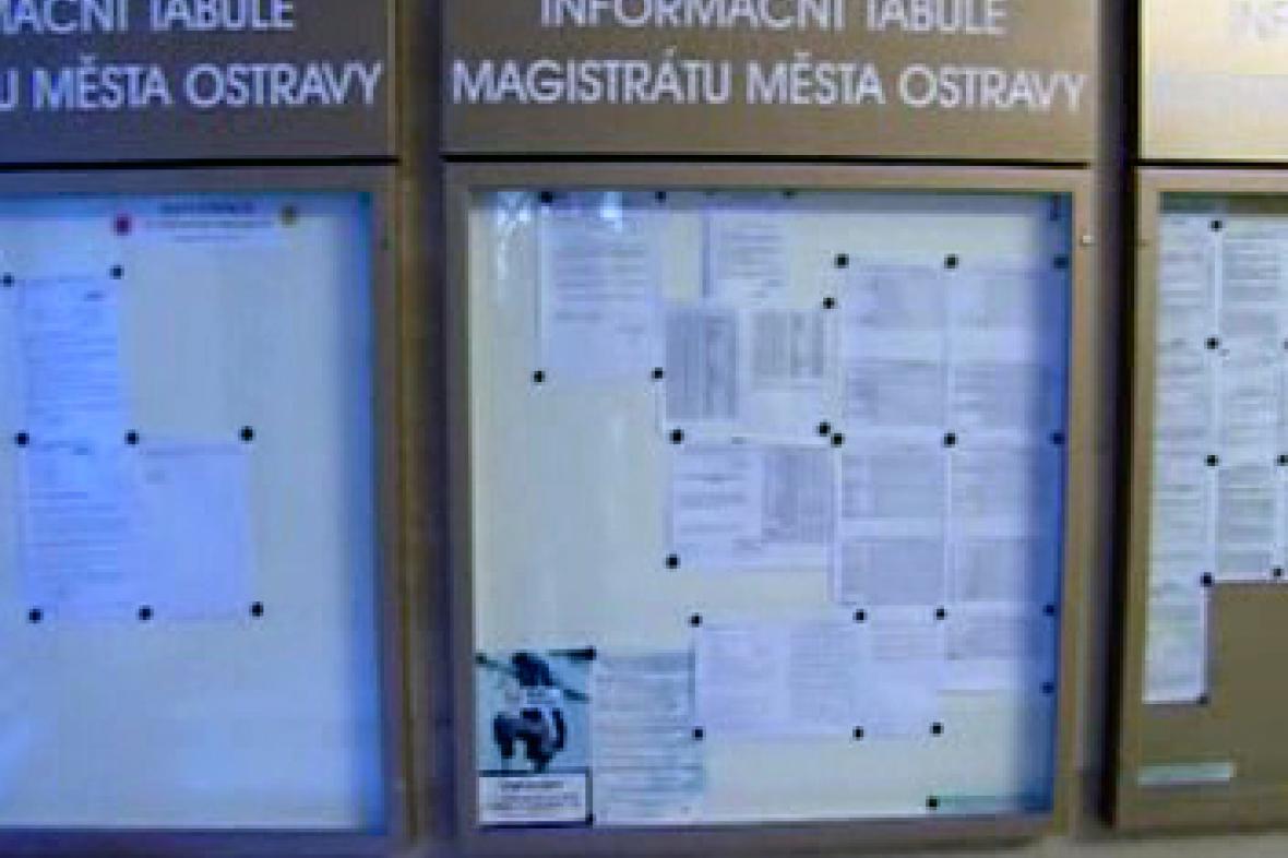 Informační tabule radnice Ostravy