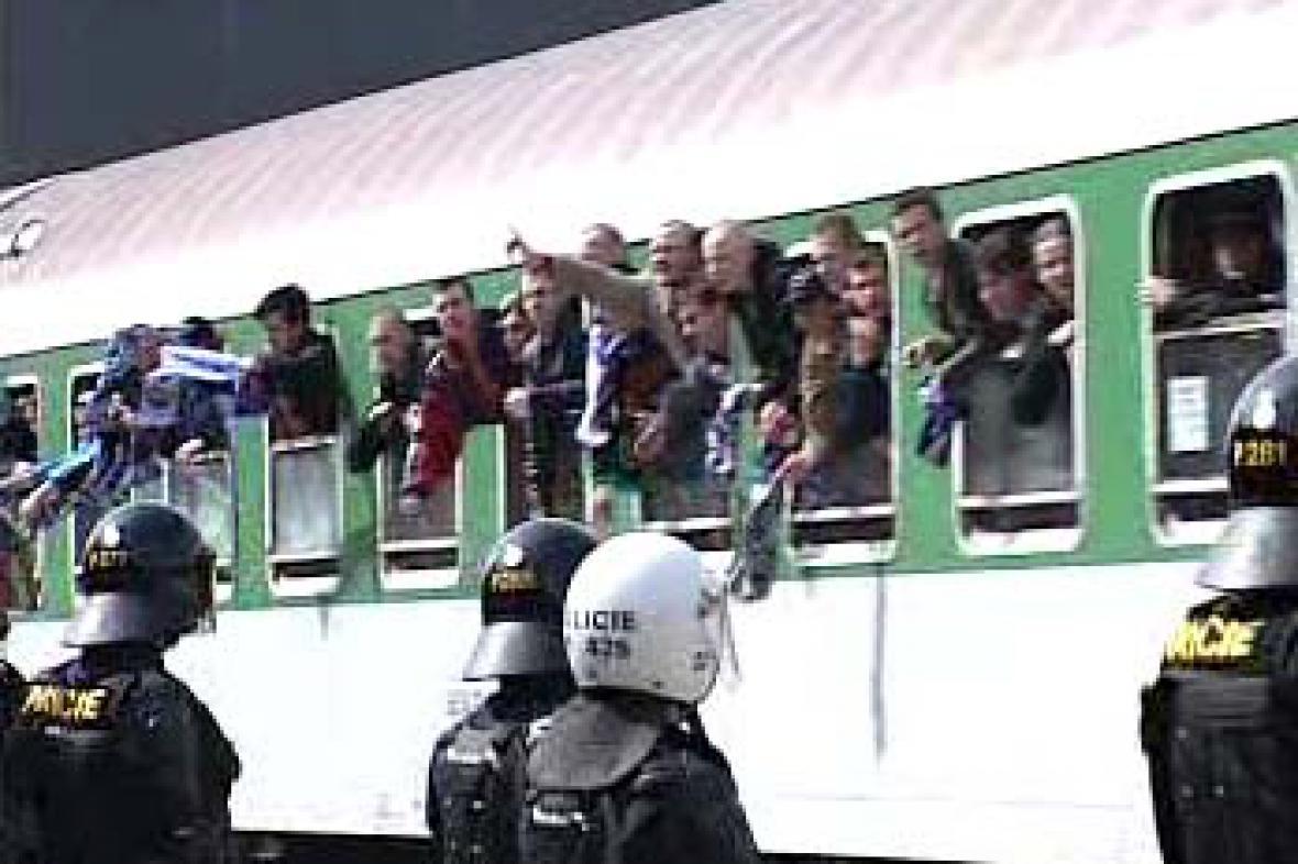 Příjezd fanoušků Baníku Ostrava