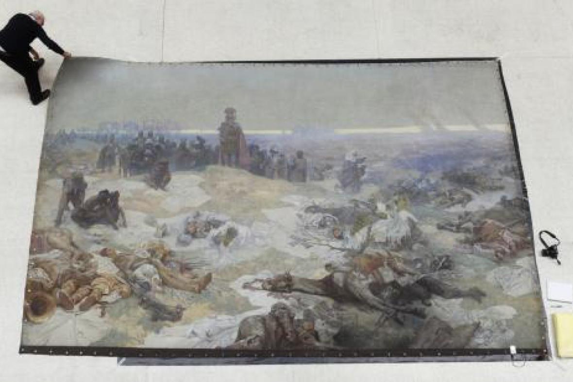 Rozvinování plátna ze Slovanské epopeje