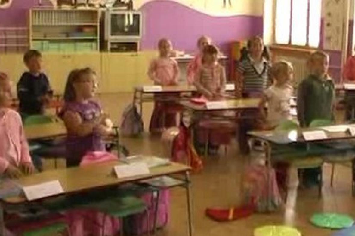 Prvňáčci v poběžovické škole