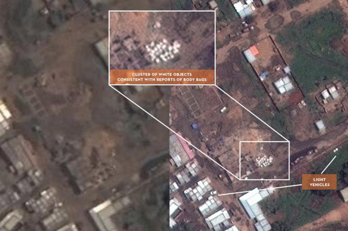 Satelitní snímek masových hrobů v súdánském Kadugli