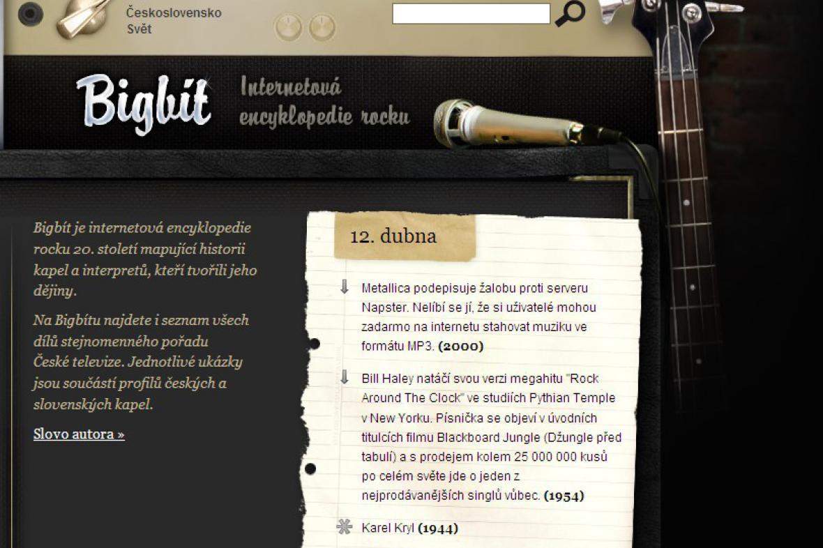 Bigbít - detail webové stránky