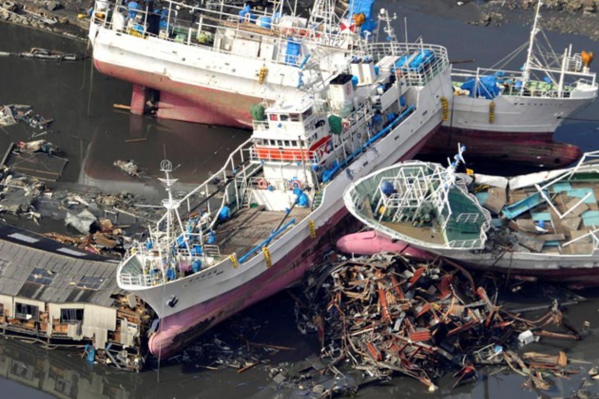 Poničené lodě v prefektuře Mijagi