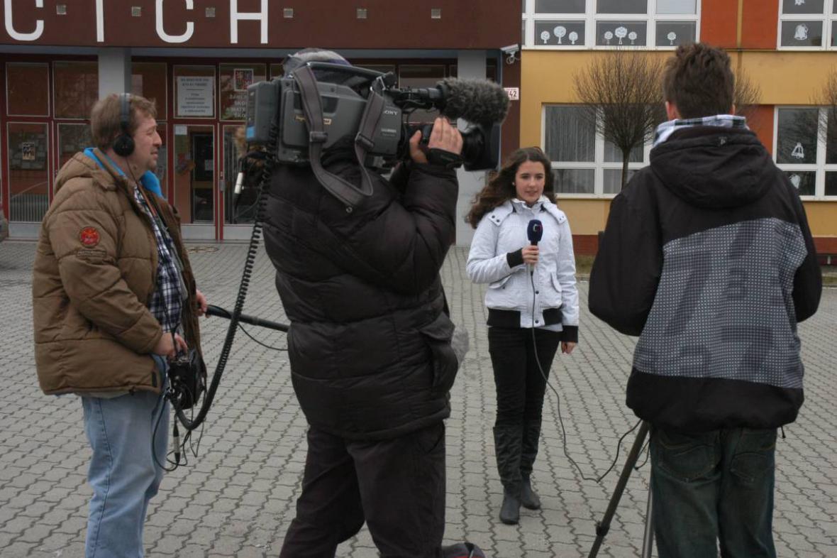 Z natáčení na ZŠ Na Kopcích v Třebíči