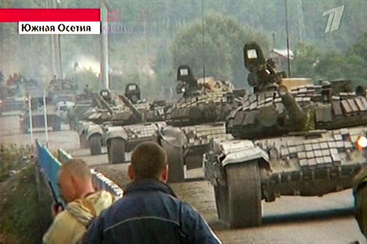 Ruské tanky v Cchinvali
