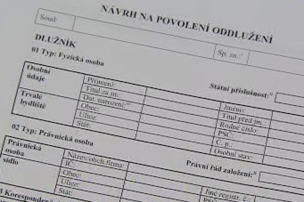 Formulář žádosti o osobní bankrot