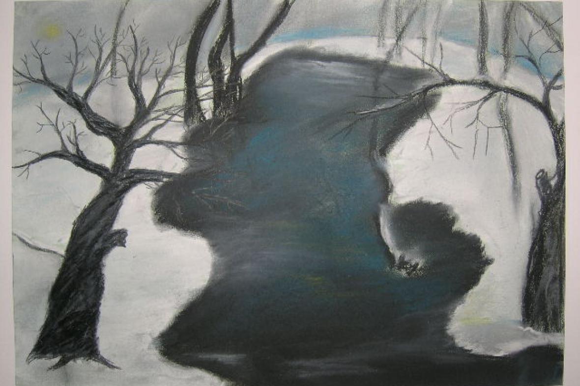 Zrcadlení v zimní zátoce, autorka Veronika Tlachová, ZŠ Červené domky, Hodonín, 1.místo v kat. 7.-9.roč. ZŠ