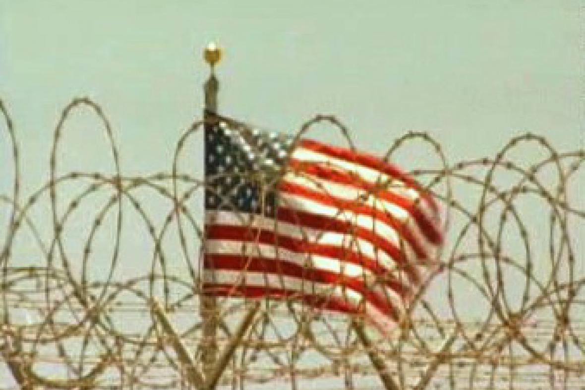 Americká vlajka na základně Guantánamo