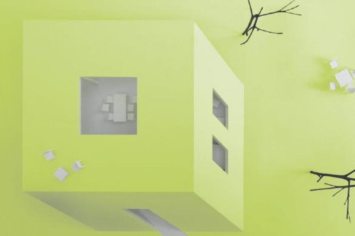Malý dům - detail z pozvánky na výstavu