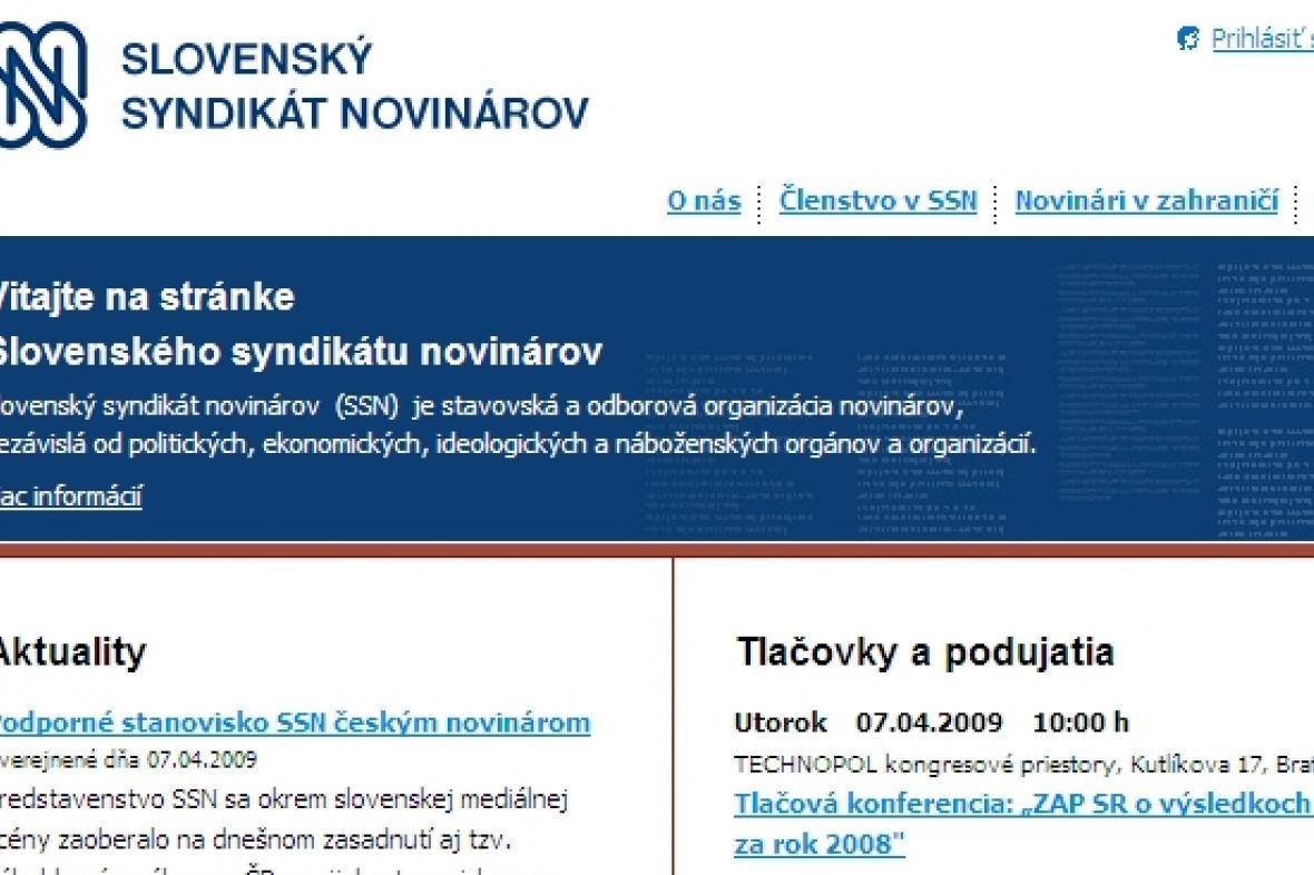 Stránky Slovenského syndikátu novinářů