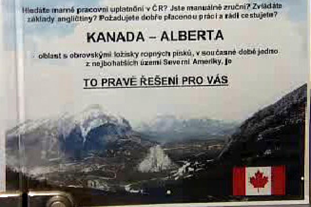 Leták lákající na práci do Kanady