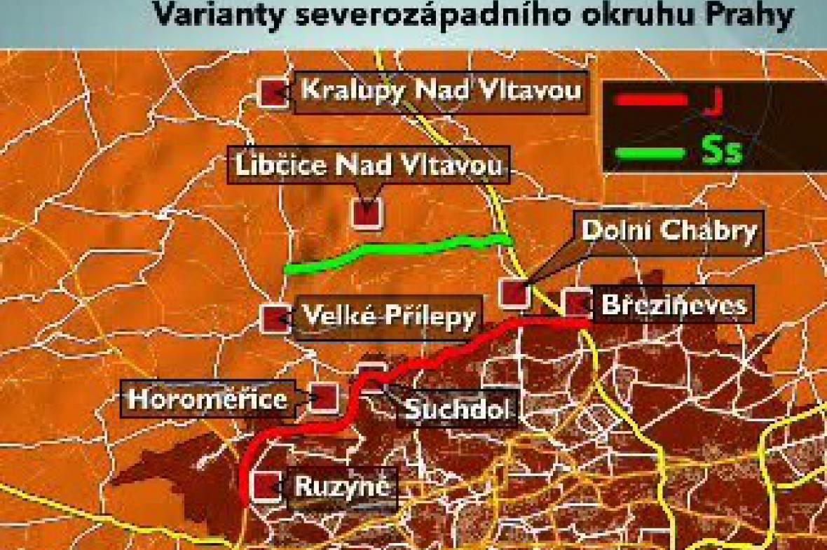 Varianty severozápadního okruhu Prahy