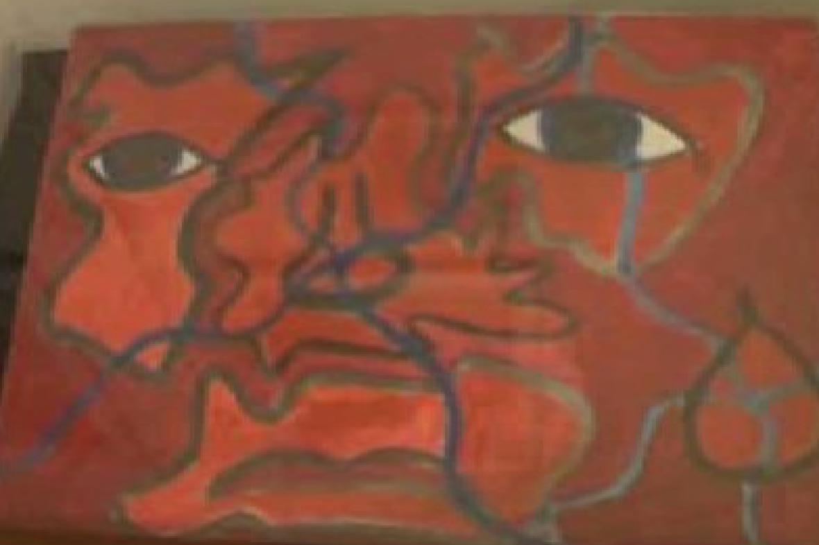 Ukázka dětské kresby v kolínské galerii